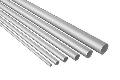 2 metros de tubo redondo de aluminio anodizado resistente B40-B45, Blanco