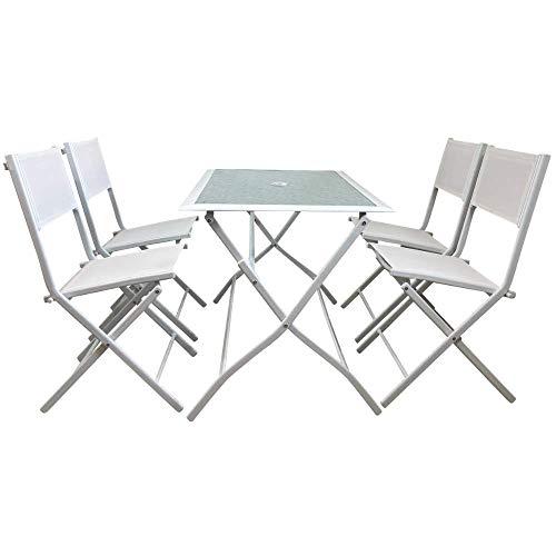 Piushopping MOBILI da Giardino Pieghevoli, Set Tavolo da Pranzo Esterno in Acciaio con 4 SEDIE Bianco