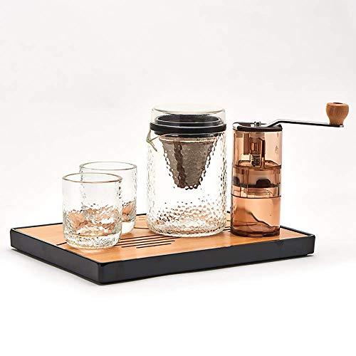 HYZXK Juego de ollas de café Hechas a Mano Molinillo de Granos de café Manual máquina de café con Filtro de Acero Inoxidable
