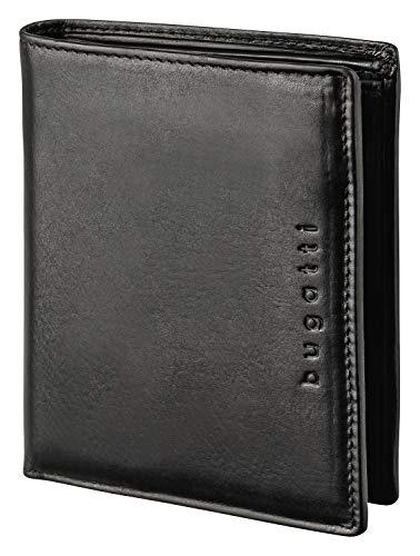 Bugatti Romano Geldbörse Herren Leder mit RFID Schutz – Portemonnaie Herren Hochformat Schwarz – Geldbeutel Portmonee Wallet Brieftasche Männer Portmonaise