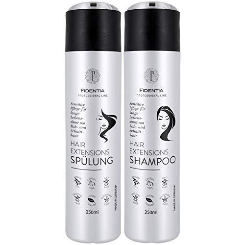 Fidentia Hair Extensions Shampoo & Spülung je 250 ml | Sensitive ohne Silikone | hoher Anteil Arganöl | für Rohhaar