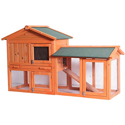 Wooden Chicken Coop Hen House with Large Nesting Box for Pets, Outdoor Indoor Waterproof Poultry Cage Pet Hutch with Removable Tray Gridding Fences and UV Proof Panel Roof for Garden Backyard Poolside
