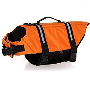 HAOCOO Dog Life Jacket Vest Saver Safety Swimsuit Preserver with Reflective Stripes/Adjustable Belt Dogs?Orange,XXL