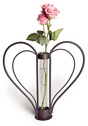 Heart Shaped Metal and Glass Vase Table Decoration