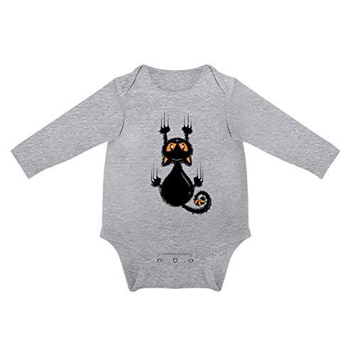 Lplpol Dibujos Animados Lindo Halloween Divertido Gato Negro Bebé Algodón Manga Larga Onesies Mono para Unisex Bebé Niños Niñas 0s8l5ewvuovp