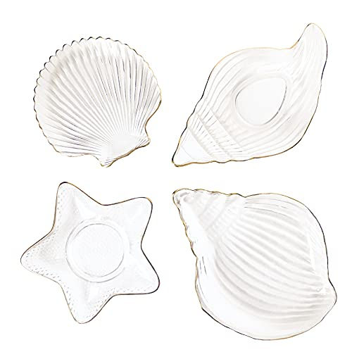 Gilded Glass Plate for Diet Control Portioned Meal Tray Seashell Starfish Afternoon Tea Snack Tray Light Food Bowl (Shell Plate)
