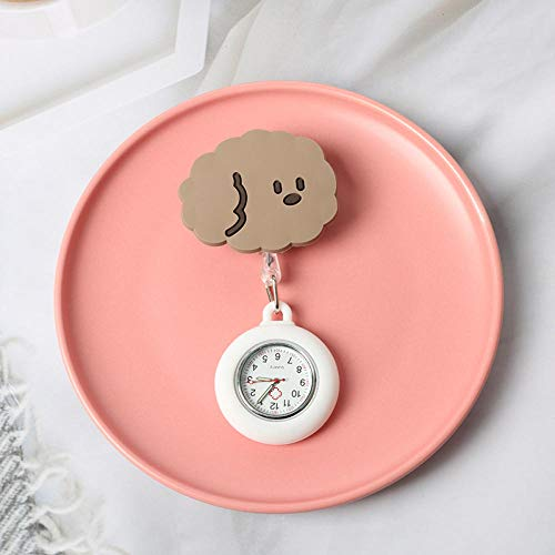 Cxypeng Reloj de Enfermera,Examine el Reloj de Bolsillo Luminoso del Reloj del Pecho, Clip Retractable Doctor Watch-Camel,Paramédico Doctor, Reloj de Bolsillo