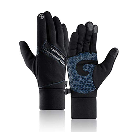 HTQZW Negro-Azul Caliente del Invierno Guantes de la Pantalla Multi-Touch con Fines Bolsillo de la Cremallera Impermeable Dedo Lleno Manoplas Antideslizantes (Color : M)