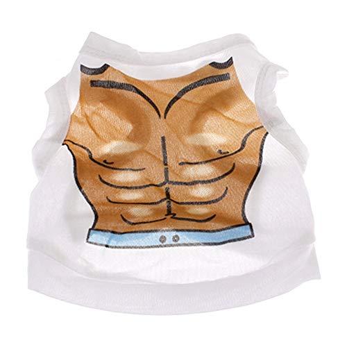 Sangni Hond Kleding Polyester Bikini Huisdier T-Shirt, Wit, L
