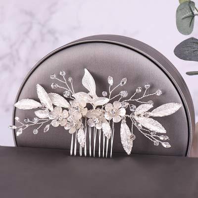 Wonderful Day Color Plata Perla Cristal Boda peines Accesorios para el Cabello para Flores Nupciales Tocado Mujeres Novia Adornos para el Cabello joyería, Plata, China