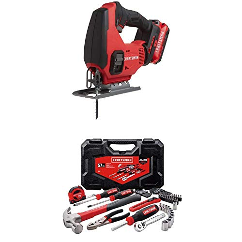 CRAFTSMAN V20 Cordless Jig Saw Kit with Mechanics Tools Kit/Socket Set, 57-Piece (CMCS600D1 & CMMT99446)