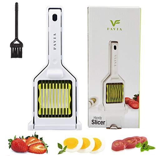 FAVIA Hartgekochter Eierschneider für Pilz Erdbeer Kirsche Tomaten Mittagessen Fleisch 9 Edelstahlklingen Mehrzweck Handy Küchengerät für die Zubereitung von Salaten BPA-frei