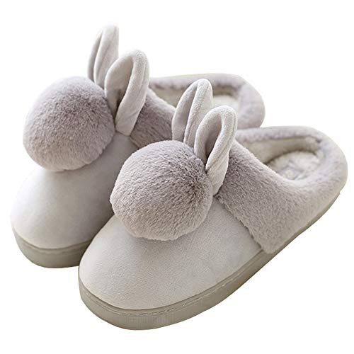 [HRFEER] ルームシューズ カップル スリッパ 裏ファー もこもこ ふわふわ コットンスリッパ 室内履きスリッパ 冬男女兼用 あったか 秋冬用 防寒スリッパ 可愛い 洗える 滑り止め (24.0cm~24.5cm(23.5cm~24.0cmの足に適用