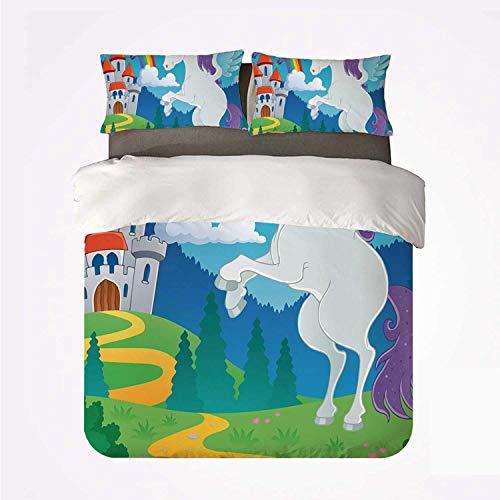 Juego de Funda nórdica para ni?os, cómodo Juego de 3 sábanas, fantasía Myth Unicorn con Arco Iris y Castillo Medieval, Dise?o de Dibujos Animados de Cuento de Hadas para Hotel