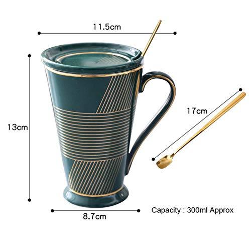 RHWZM Tazza Boccale Mug Tazzine Tazza da tè in Ceramica Creativa Tazza da caffè in Porcellana Tazza da Acqua in Porcellana con Coperchio E Cucchiaio Tazza da tè per Ufficio, Stile A, 300 Ml