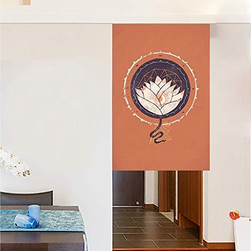 JH&MM Gedruckte Tür-Vorhang im chinesischen Stil Küche Partition Restaurant Half-Height Smoke-Proof Baumwolle und Leinen Gardinen,Slice,70 * 120