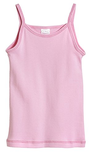 City Threads Baby Girls' Cotton Camisole Cami Tank Top T-Shirt Tee Tshirt Spaghetti Straps Summer Play School Sports Sensitive Skin SPD Sensory Sensitive Clothing - Pink - 18-24m