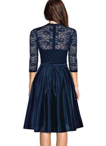 Mmondschein Women Vintage 1930s Style 3/4 Sleeve Black Lace A-line Party Dress Blue L