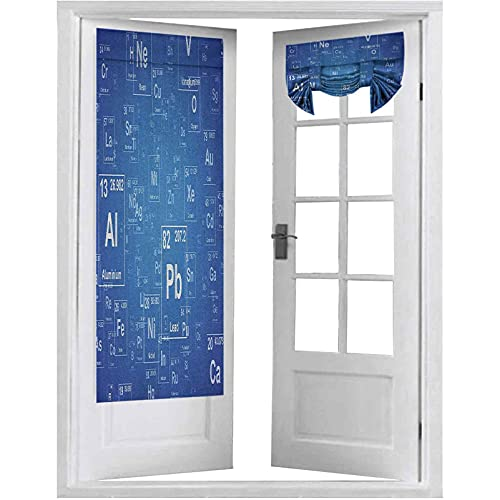 Cortinas francesas para puerta, imagen inspirada en el programa de televisión con elementos periódicos, 2 paneles, 66 x 172 cm, para cortinas de ventana, color azul y blanco