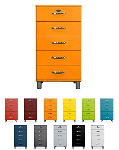 Tenzo Malibu Designer Chiffonnier avec 5 Tiroirs, Panneaux de Particules & MDF, Orange, 60 x 41 x 111 cm