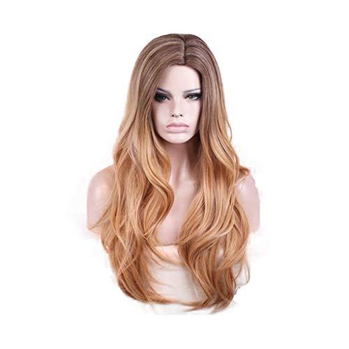 Longs cheveux bouclés européens et américains perruques dames Bangs ensembles de cheveux mélangés dégradés de couleurs d'or (Color : B FOUR, Size : PIECE SET)