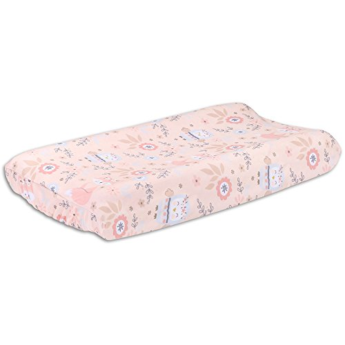 Woodland Friends Owls and Foxes Baby Changing Pad Cover - Dusty Rose Pink Velour