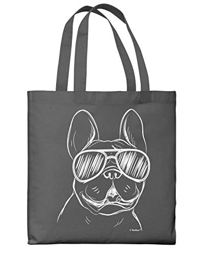 Travel Accessories French Bulldog Wearing Sunglasses Grey Canvas Tote Bag