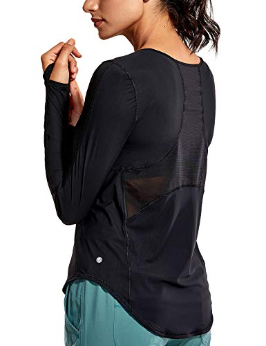 CRZ YOGA Damen Lang-arm Shirt Sport Workout Laufshirt mit Daumenöffnungen Schwarz 36
