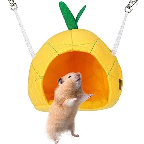 Hamaca de Piña Cama Casa Suave de Hámster Casa Colgante para Hámster Animales Pequeños Hamaca de Jaula para Mascotas Conejillos de Indias Accesorios para Rata Chinchilla Mascotas Pequeñas