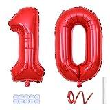 Yijunmca Globos de helio gigantes con 10 números de 81 cm, globos de helio para colgar globos de aluminio para niños y niñas suministros para fiestas de 10 aniversario decoración de eventos 10 rojos