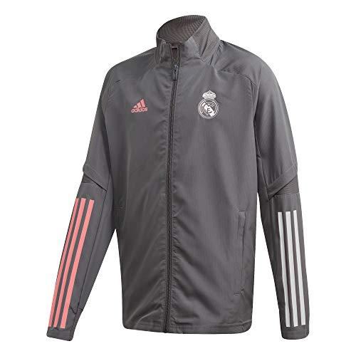 adidas Real Madrid Saison 2020/21 Jacke mit Reißverschluss, offizielle Jacke mit Reißverschluss, für Kinder M grau