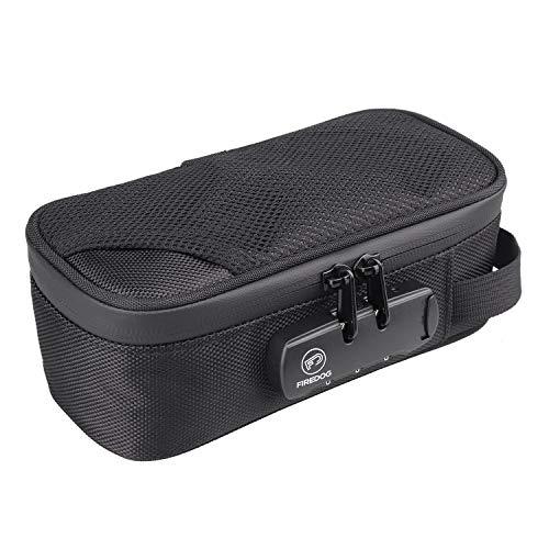 FIREDOG Geruchsdichte Tasche mit Schloss, mit Karbonfutter, geruchsdichte Behälter, für Reisen (schwarz, 20,3 x 10,2 x 7,9 cm)