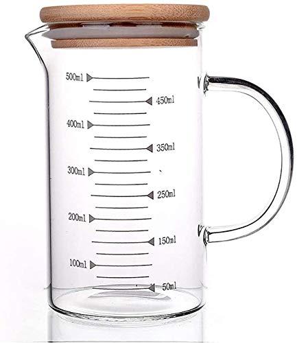 JNN Vaso medidor de Vidrio, Vaso de precipitados Graduado de Vidrio de borosilicato Resistente al Calor con asa y Tapa de bambú, fácil de Leer, para Leche, Vino, líquido Caliente o frío