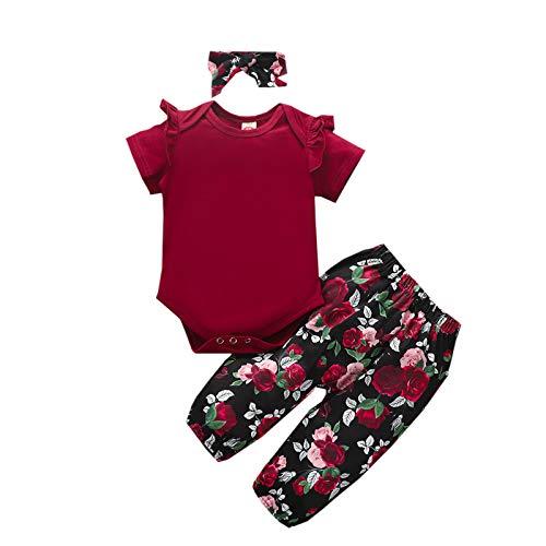 Haokaini Conjunto de ropa para recién nacido, diseño floral de manga corta, con volantes y pantalones florales