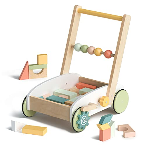 ROBUD Wooden Baby Walkers Building Blocks Toddler Toys Baby Learning Walker Educational Toys for 10-24 Months