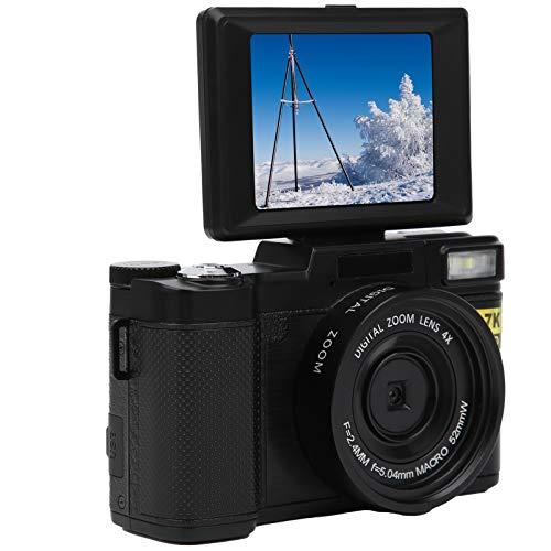 Lazmin112 Fotocamera Digitale WiFi, 2,7K 48MP HD Videocamera Digitale con Rotazione di 180 Gradi con Schermo LCD da 3 Pollici, Ricarica USB, con Flash Automatico, Regali per Bambini e Amici