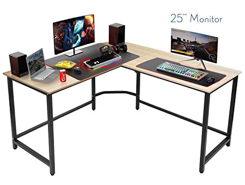 2019 Modern L-Shaped Heavy Duty Desk Corner Gaming Computer Desk PC Latop Study Table Workstation...