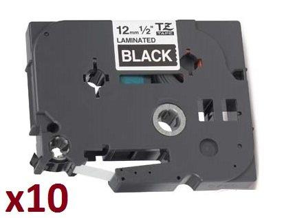 10 x Nastro laminato Compatibile per Brother P-Touch TZ 12mm x 8m TZe-335 TZ-335 Bianco su Nero