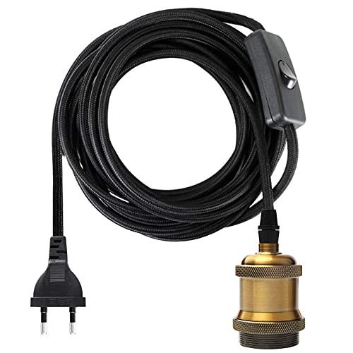 Portalámparas E27 Casquillo con Interruptor, Cable Eléctrico de tela de cable 3,5...