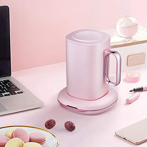 SZKQN Koffiemok, automatische mengbeker, elektrische 24-uurs thermostaat-verwarmingsbeker, magische isolatiebeker, draadloos laden, hoogwaardig keramiek