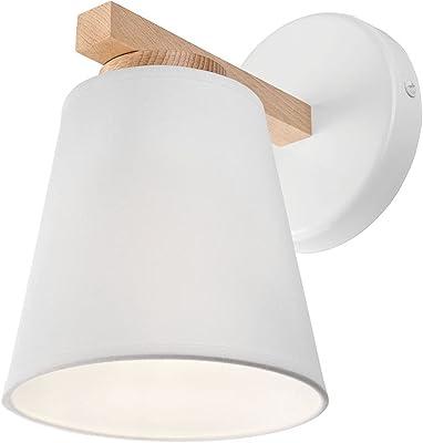 Applique d'intérieur Maidel en bois au design scandinave moderne avec abat-jour en tissu blanc, E27 idéal pour les salons et les couloirs