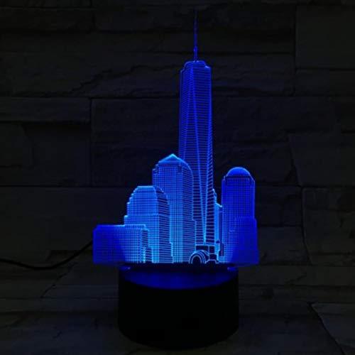 World Trade Center Usb 3D Led Veilleuse Veilleuse Lampe Décoration RVB Enfants Bébé Cadeau Célèbre Bâtiments Lampe De Table De Chevet Néon Bluetooth Contrôle