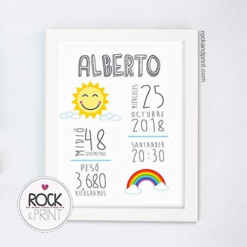 Cuadro Natalicio Sol personalizado con datos de nacimiento del bebé. Regalo original de recuerdo de nacimiento.