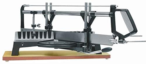 Verstekzaag met geleiderail en metalen voet, afmetingen blad 550 mm lengte en 45 mm breedte.