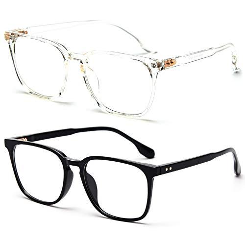 2 gafas de bloqueo de luz azul para mujeres y hombres, marco cuadrado, filtro anti luz azul para computadora