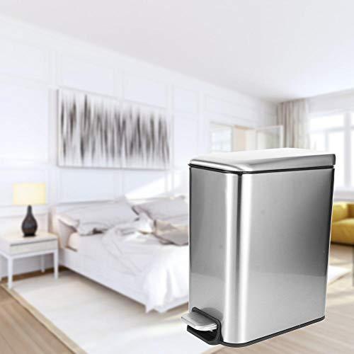 Sevenyou Pedal Mudo Basura Papelera Basurero Cubo de Basura para el hogar Dormitorio Cocina Uso Acero Inoxidable 5L Astilla Durable