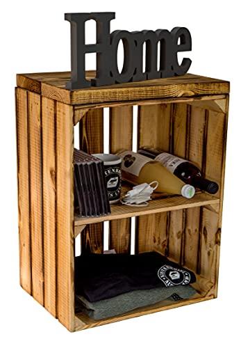 Sittlåda förvaringsbord sittlåda från vår Johanna fruktlåda och massiva träräkor skohylla skobyrå pall av trä mått 40 x 29 x 50 cm L x D x H (flammad med planka)