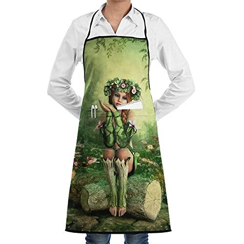 LOSNINA Delantal de cocina impermeable para hombres delantal de chef para mujeres restaurante de jardinería BBQ cocinar hornear,Niña, elfo, hada, con, corona, en, cabeza, sentado, en, tocón de árbol