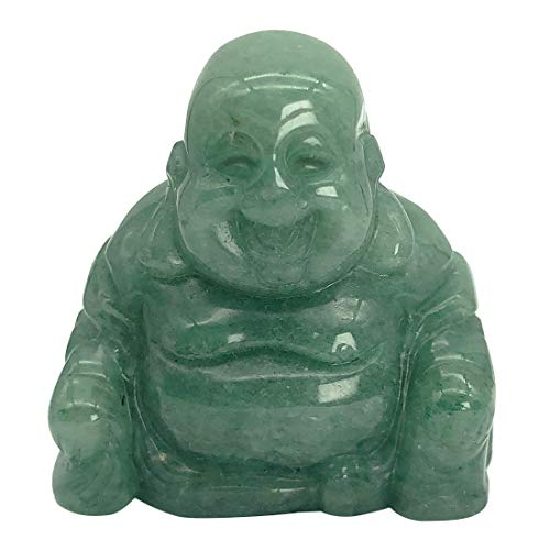 favoramulet Handcarved Stone Maitreya Laughing Happy Buddha Statue, Healing Crystal Pocket Figurine Sculpture Decoration 1.5' Tall, Green Aventurine