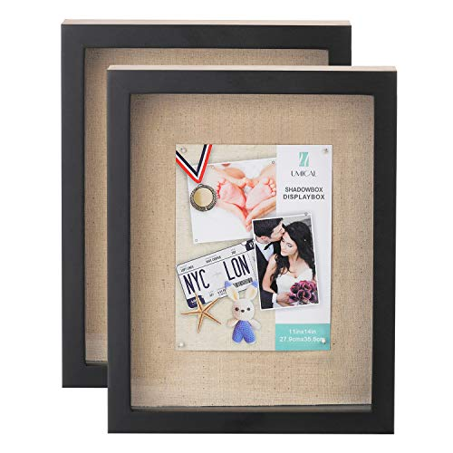 UMICAL 2 Pack - 11x14 Shadow Box Display Case Black Wooden Shadow Box Frame with Linen Board and Stick Pins Memorabilia Awards Medals Photos Tickets Art Bouquet Memory Box for Keepsakes